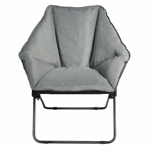 Gymax Folding Saucer Padded Chair Soft Wide Seat w/ Metal Frame Lounge Furniture Perspective: front