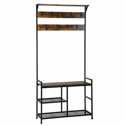 Gymax 3-In-1 Industrial Coat Rack Shoe Bench Entryway Hall Tree w/Storage Shelf & 9 Hook Perspective: front
