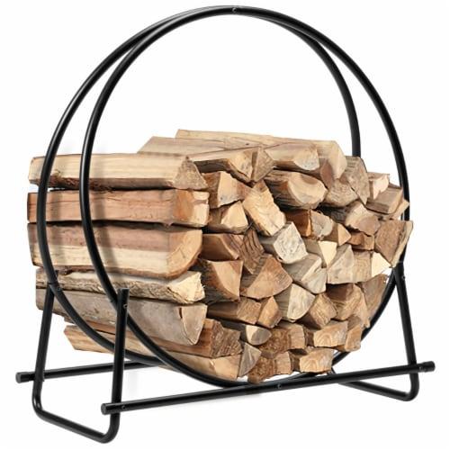 Gymax 30'' Tubular Steel Log Hoop Firewood Storage Rack Holder Round Display Perspective: front