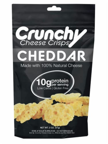 Cheddar Crunchy Cheese Crisps, Made with 100% All Natural Cheese, Keto Friendly, Gluten Free Perspective: front