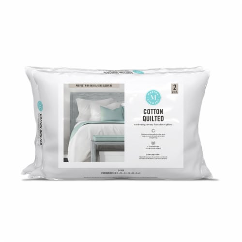 Martha Stewart Cotton Quilted Conforming Memory Foam Cluster Pillows Perspective: front