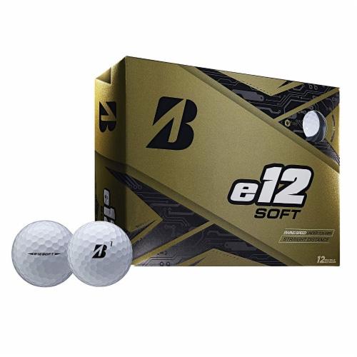Bridgestone Golf Series e12 Soft 3-Piece Distance Golf Balls, White (1 Dozen) Perspective: front