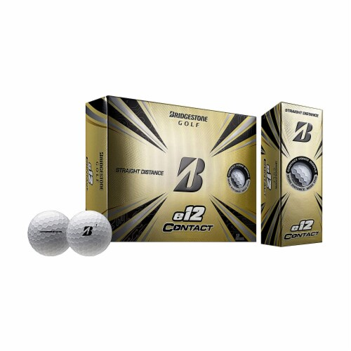 Bridgestone e12 CONTACT Series Golf Balls with Force Dimples, White, 12 Pack Perspective: front