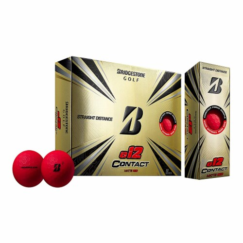 Bridgestone e12 CONTACT Series Golf Balls w/ Contact Force Dimples, Red, 12 Pack Perspective: front