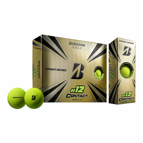 Bridgestone e12 CONTACT Golf Balls with Contact Force Dimples, Green, 12 Pack Perspective: front