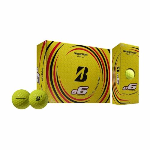 Bridgestone e6 Soft Feel Core Long Distance Plastic Golf Balls, Yellow, 1 Dozen Perspective: front