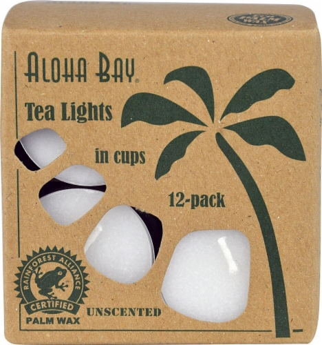 Aloha Bay Unscented Palm Wax Tealight Candles - White Perspective: front