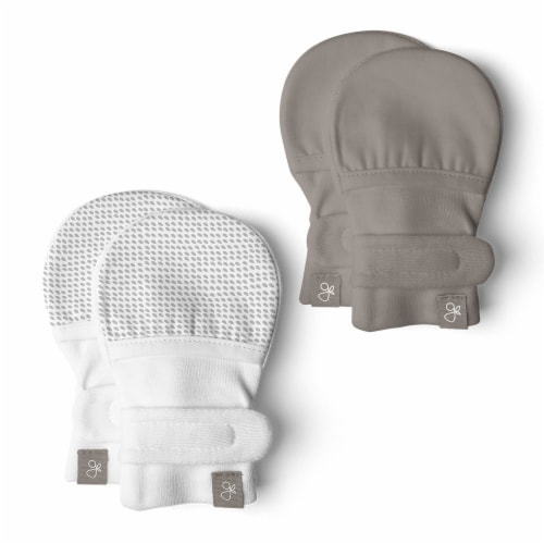 Goumikids Organic No Scratch Baby Infant Mittens, 3-6M Pewter/Drops (2 Pairs) Perspective: front