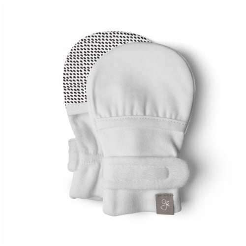 Goumikids Soft Organic Stay On No Scratch Baby Infant Mitts, 3-6M Desert Mist Perspective: front