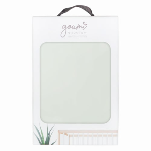 Goumikids Soft Organic Cotton Bamboo Baby Changing Pad Tray Cover, Succulent Perspective: front