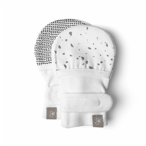 Goumikids Super Soft Organic Stay On No Scratch Baby Infant Mitts, 3-6M Terrazzo Perspective: front