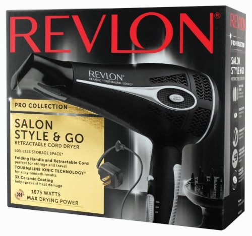 Revlon Retractable Cord Fold & Go Dryer Perspective: front