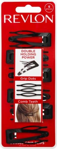 Revlong Black Double Grip Clips Perspective: front
