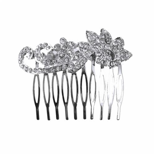 Revlon Silver Hair Combs With Rhinestones Perspective: front