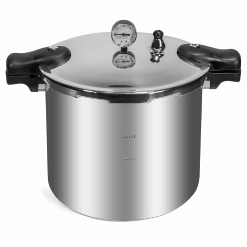 Barton 22-Quart Canner Pressure Cooker Pressure Cooker22 QT Capacity, Polished Aluminum Perspective: front