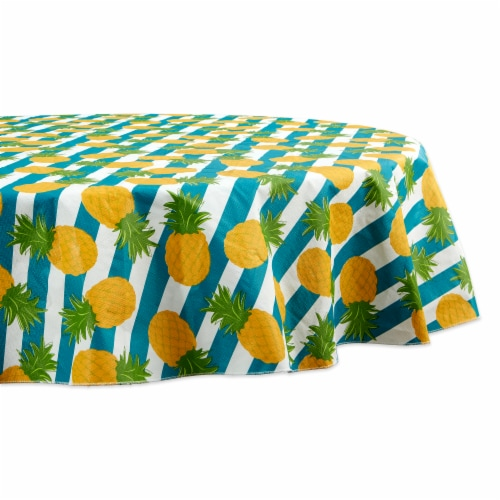 """Dii Pineapple Vinyl Tablecloth 70"""" Round Perspective: front"""