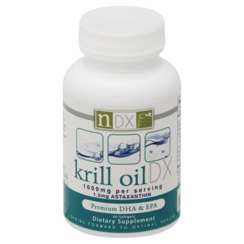 NDX Krill Oil 1000 mg Premium DHA & EPA Dietary Supplement Perspective: front