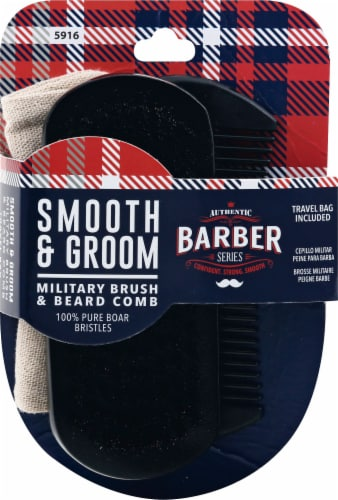 WavEnforcer Barber Series Smooth & Groom Military Brush & Beard Comb Perspective: front