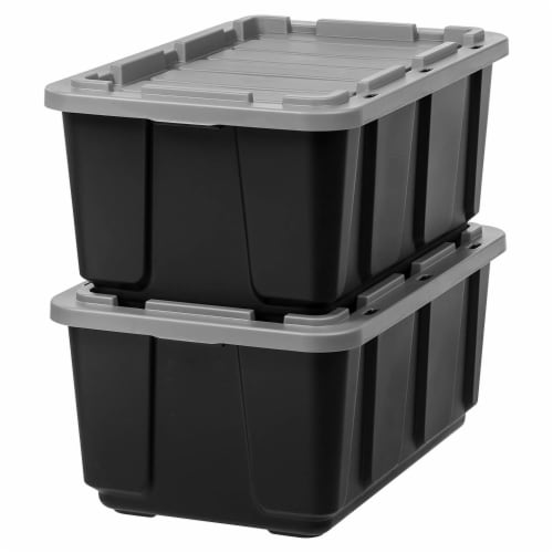 IRIS USA 27 Gallon Stackable Utility Storage Tote with Secure Lid Black (2 Pack) Perspective: front