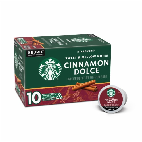 Starbucks Cinnamon Dolce Flavored Ground Coffee K-Cup Pods 10 Count Perspective: front