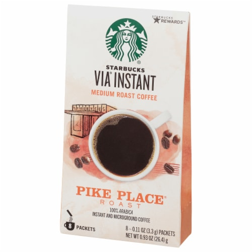 Starbucks Via Instant Pike Place Medium Roast Instant Coffee Packets 8 Count Perspective: front