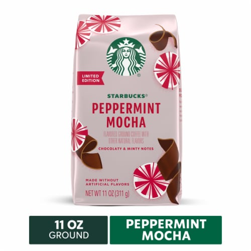 Starbucks Peppermint Mocha Flavored Ground Coffee Perspective: front
