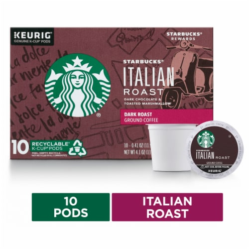 Starbucks Italian Roast Dark Roast Coffee K-Cup Pods Perspective: front
