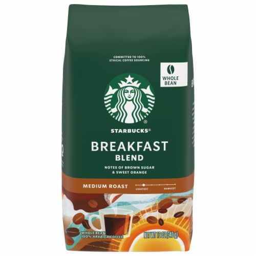 Starbucks Breakfast Blend Medium Roast Whole Bean Coffee Perspective: front