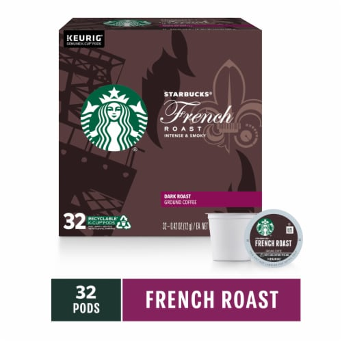 Starbucks French Roast Dark Roast Ground Coffee K-Cup Pods Perspective: front