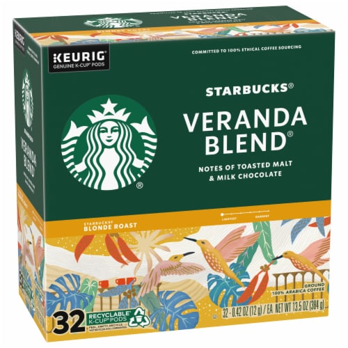 Starbucks Veranda Blend Blonde Roast Ground Coffee K-Cup Pods Perspective: front