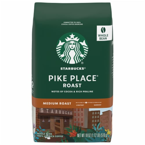 Starbucks Pike Place Roast Whole Bean Coffee Perspective: front