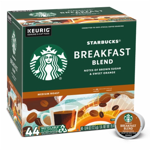 Starbucks Breakfast Blend Medium Roast Ground Coffee K-Cup Pods Perspective: front