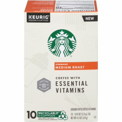 Starbucks Medium Roast Coffee with Essential Vitamins K-Cup Pods Perspective: front