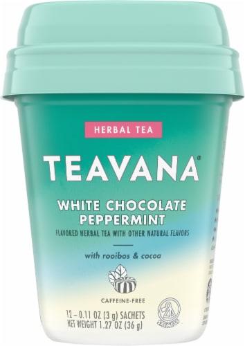 Teavana White Chocolate Peppermint Herbal Tea Sachets Perspective: front