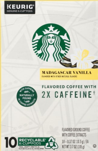 Starbucks Double Caffeine Madagascar Vanilla Flavored Coffee K-Cup Pods Perspective: front