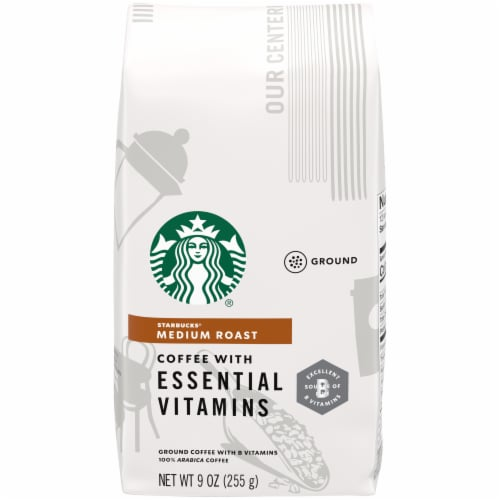 Starbucks Medium Roast Ground Coffee with Essential Vitamins Perspective: front