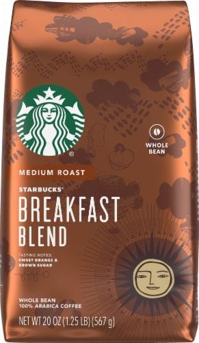 Starbucks Breakfast Blend Medium Roast Whole Bean Coffee Perspective: front