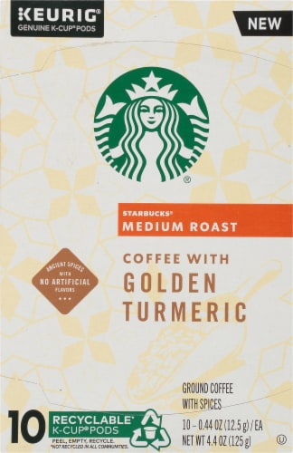 Starbucks Golden Turmeric Medium Roast Ground Coffee K-Cup Pods Perspective: front