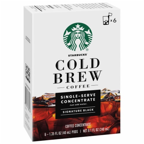 Starbucks Cold Brew Signature Black Single-Serve Coffee Concentrate Pods Perspective: front