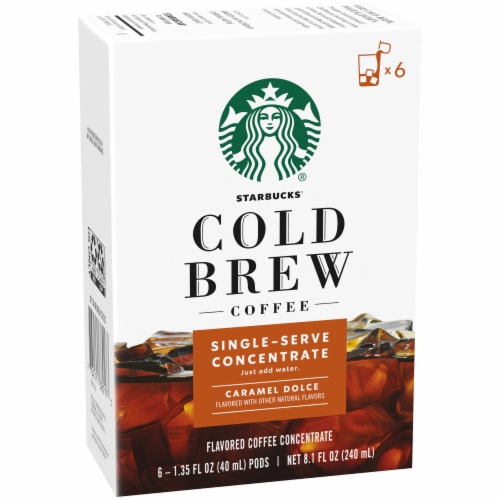 Starbucks Caramel Dolce Cold Brew Coffee Concentrate Single Serve Pods Perspective: front