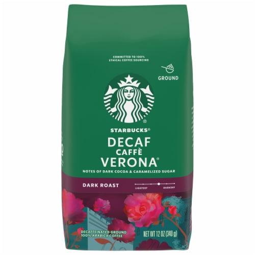 Starbucks Decaf Caffe Verona Dark Roast Ground Coffee Perspective: front