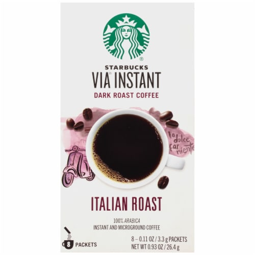 Starbucks Via Instant Italian Dark Roast Instant Coffee Packets 8 Count Perspective: front