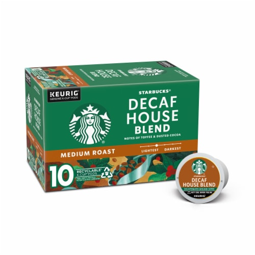 Starbucks Decaf House Blend Medium Roast Coffee K-Cup Pods Perspective: front