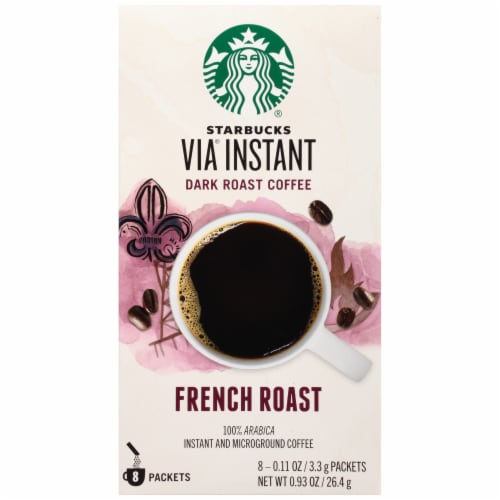 Starbucks Via French Dark Roast Instant Coffee 8 Count Perspective: front