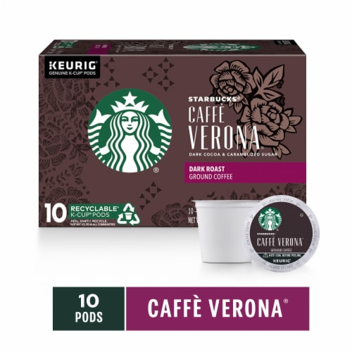 Starbucks Caffe Verona Dark Roast Coffee K-Cup Pods Perspective: front