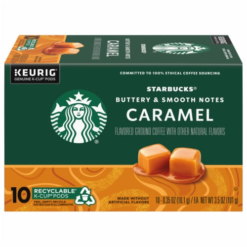 Starbucks Caramel Flavored Ground Coffee K-Cup Pods Perspective: front