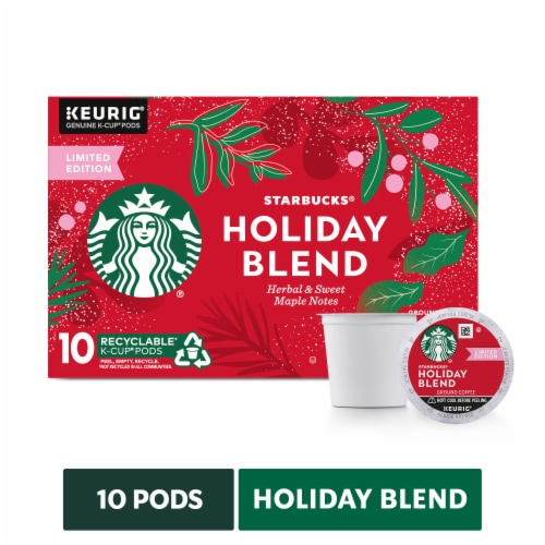 Starbucks Holiday Blend Medium Roast Coffee K-Cup Pods Perspective: front