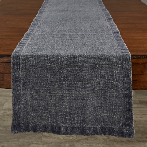 Split P Washed Linen Solid Table Runner - 60'' L - Blue Perspective: front