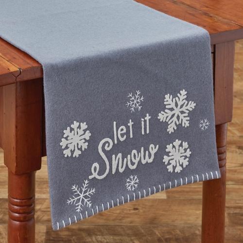 "Park Designs Let It Snow Felt Table Runner - 36""L - Gray Perspective: front"