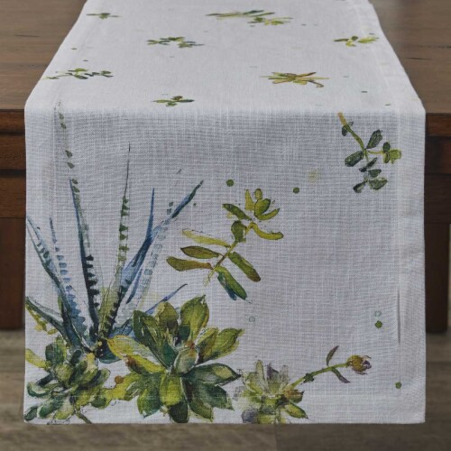 Split P Succulents Printed Table Runner - 72'' L - White Perspective: front